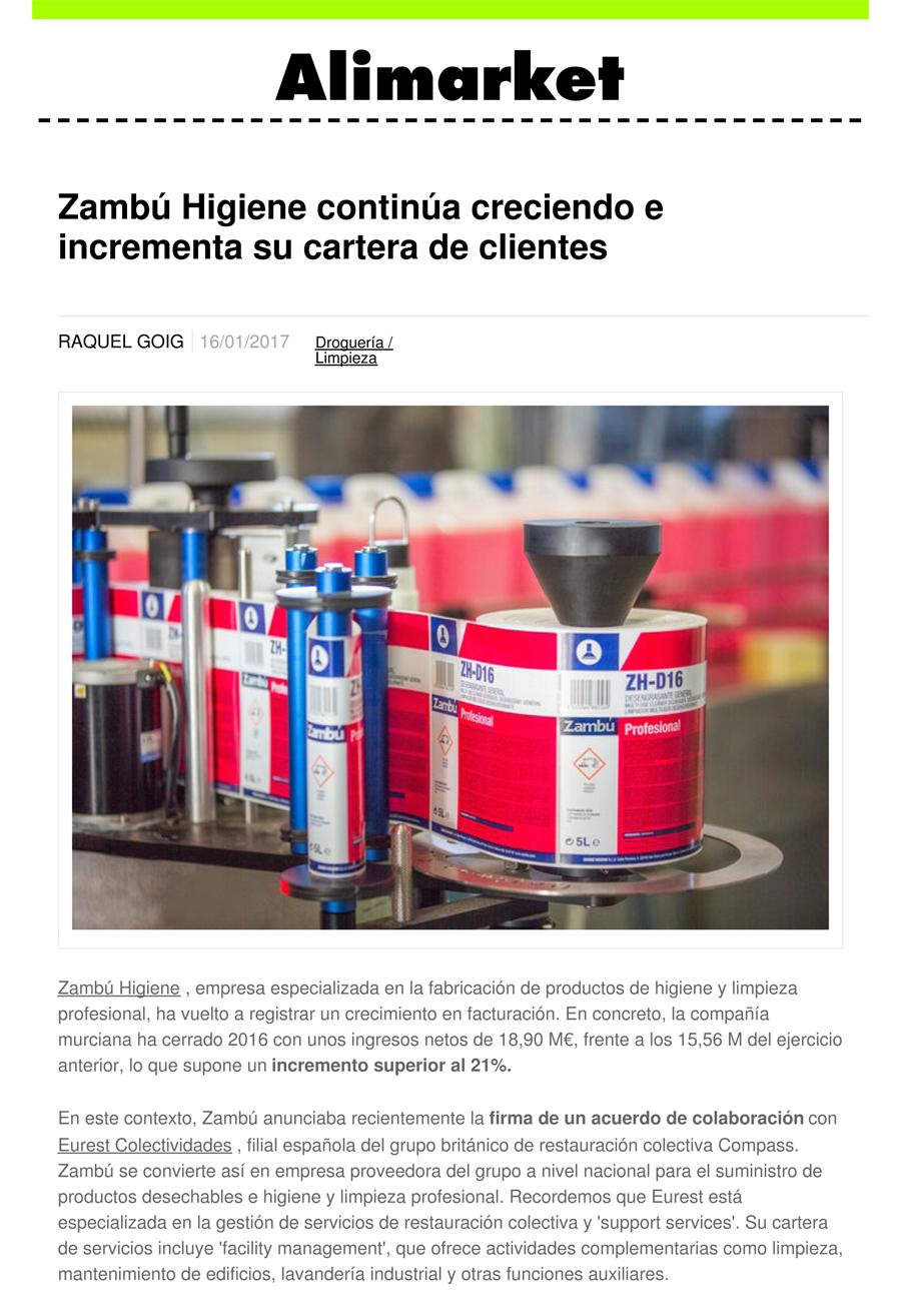 Zambú Higiene continúa creciendo e incrementa su cartera de clientes